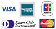 VISA、master、AMEX、Diners、JCB